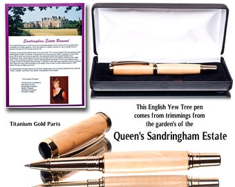 Rare and unique wooden rollerball pen made of wood from the Queen of England's Sandringham Estate with case