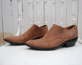 Vintage WILD PAIR Size 7 Soft Brown Leather Short Ankle Boots Western Style - epsteam