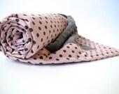 Pink and Grey Polka Dot Baby Girl Blanket - Dumb Dot by Michael Miller - Grey MInky Dot - 26 x 30