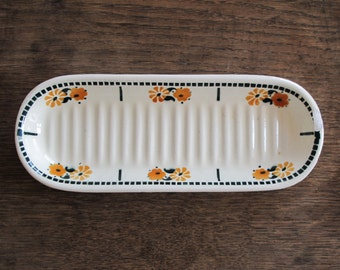 Circa 1930, antique french soap dish, art deco green pattern