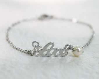Simple silver Love with pearl Bracelet - S3323-1