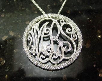 "monogram sterling silver .   1.5"" size  with 45 CZ stones frame , .sterling silver.whith a chain"