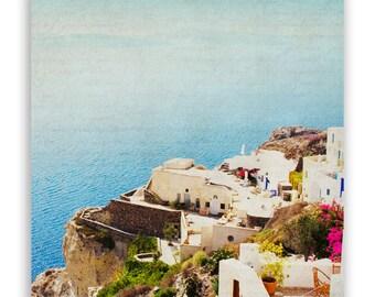 Aqua Decor, Greece Photography, teal home decor, seaside wall art, Mediterranean decor, Greece print, Santorini photos - Fine Art Photograph