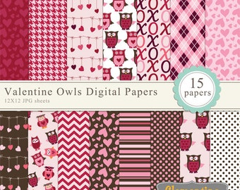 Valentine digital paper 12x12,  owl digital scrapbook paper, commercial use-valentineowls- Instant Download