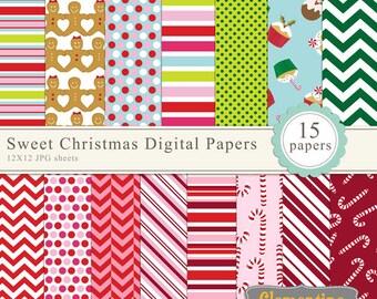 Sweet Christmas scrapbook paper 12x12, digital scrapbooking paper, royalty free- Instant Download