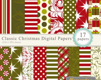 Classic Christmas scrapbook paper 12x12, digital scrapbooking paper, royalty-free- Instant Download