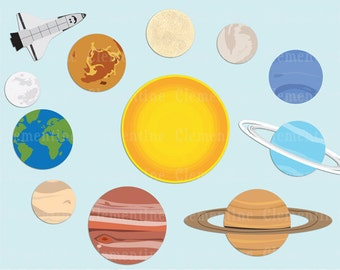 Solar System clip art images, planet clip art, solar system images, royalty free- Instant Download