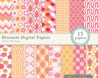 Floral scrapbook paper 12x12, damask digital scrapbooking paper, royalty free- Instant Download