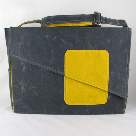 Waxed canvas Diaper Bag Canvas Diaper Bag in Gray and Yellow