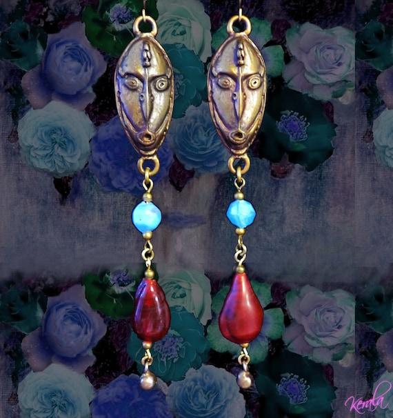 SALE- Long Ethnic Earrings- Turquoise and Red Long Bohemian Earrings- Tribal Masks, Ethnic, Indian Glass, Handmade