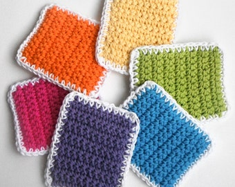 Crochet Sponge Dishcloth Washcloth - THICK - Set of 6 - Rainbow Colors - 100% Cotton