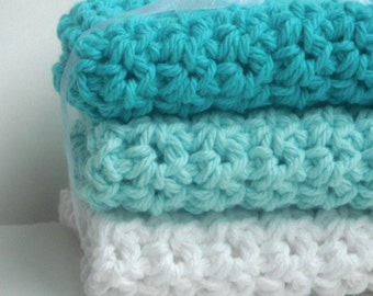 Crochet Dishcloths Washcloths - Set of 3 - For Kitchen, Bathroom, Baby - Ombre Blue, Aqua, White - 100% Cotton