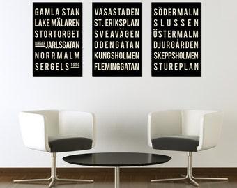 STOCKHOLM Poster Print. Swedish Wall Decor. Scandinavian Art Prints. Set of 3 - Holiday Gift