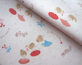 Japanese Fabric Kokka, Printed Canvas Fabric, Ballerina Fabric, Ballet Fabric, Girl Fabric, Bag Fabric, Kids Fabric/I love Ballet/half yard