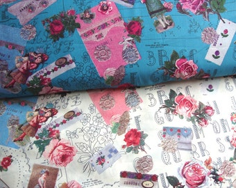 Japanese Fabric Yuwa, Vintage Childrens Fabric, Victorian Fabric, Vintage Fabric, Lawn Fabric, Collage Fabric, Rose Fabric/Motif Girl/a yard