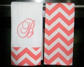 Monogrammed  Kitchen Towels or Hand Towels in Coral / White Chevron