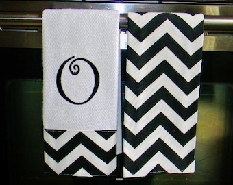 Monogrammed  Kitchen Towels or Hand Towels in Black / White Chevron
