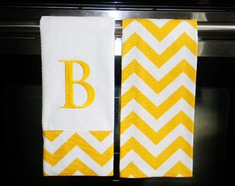 Monogrammed  Kitchen Towels in Yellow Chevron | Housewarming Gift | Hostess Gift | Gifts for Her | Wedding