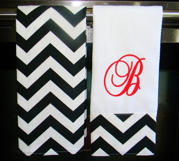 Items Similar To Monogrammed Kitchen Towels Or Hand Towels