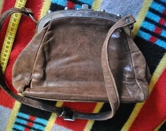 Vintage brown soft leather bag purse 30s 20s