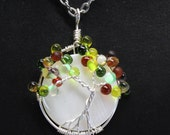 Tree of Life Necklace with Natural White Shell Bead - Fall - Autumn - Wire Wrapped