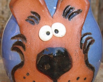Handmade pottery dog coffee mug