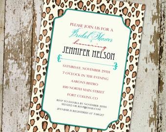 bridal shower invitations colorful leopard print, digital, printable file (item 357)