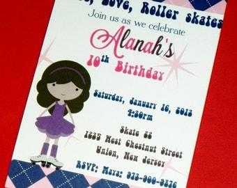 PRINTABLE Rollerskate Invitation, Pink and Blue Argyle