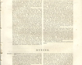 1823 Article on Dyeing, original pages from Encyclopedia