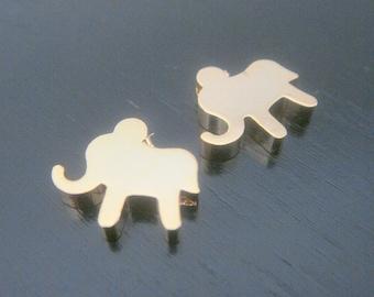 Gold Tarnish Resistant mini elephant bead disk Connectors, Earring Findings, pendants, 2 pc S105196