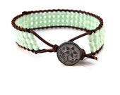 Mint Leather Wrap Bracelet with Designer Blossom Button/ OOAK/ Free Shipping/ Boho Glam Luxe Chic/ St Patricks Day - GloryGift