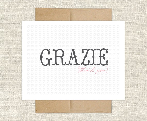 Grazie Thank You Note Cards