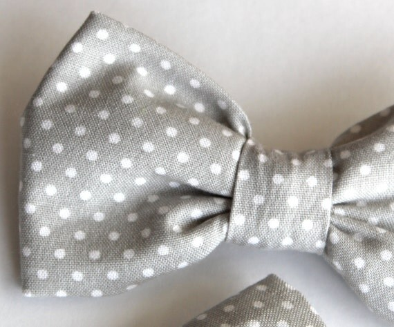 Boys Bow tie and matching suspenders in Silver Gray Pin Dot - Clip on - ring bearer attire
