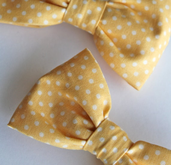 Men's Soft Yellow Polka Dot Bow tie - clip on, pre-tied adjustable strap or self tying / freestyle