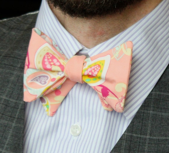 Men's Bow Tie in Peach Floral - Self tying - freestyle, pre-tied adjustable strap or clip on