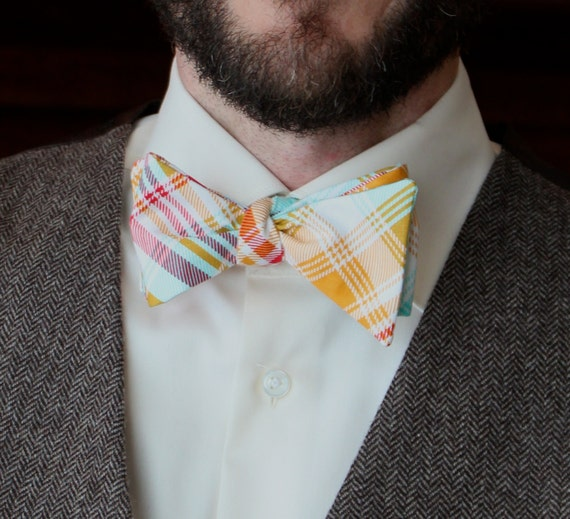 Men's Bow Tie in Tartain Red and Yellow Plaid - Self tying, pre-tied adjustable strap or clip on - Groomsmen attire