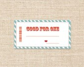 Printable Coupons in Teal/White - Birthday or Anniversary gifts - Love Coupon- Blank Coupons