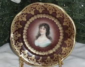 "Royal Vienna Mignon Z S & Co. Bavaria ""Amicitia"" 6"" Porcelain Portrait Plate"