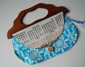 1976 Calendar Girl Vintage Towel Purse with wooden handle