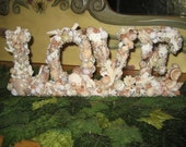 Shell  Decor Love Sign Wedding Valentine Nautical Shell Covered Letters Reserved for Genevievebloom1