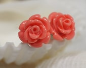 Stud Earrings Rose Post earrings Pink Salmon Coral