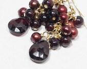 Chandelier Earrings /Garnet Red  Earrings Red Pearl Earrings 14K Gold Filled Long  Earrings Garnet Chandelier Earrings