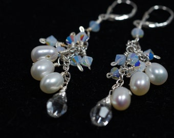 Pearl Drop Earrings, Dangle earrings, Cluster Earrings, Bridal Earrings, Freshwater Pearl Earrings