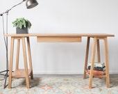 "Saw Horse Desk - Solid White Oak - 28""W x 55""L x 30""H"