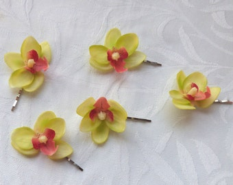 Orchid hair fascinators mini real touch green phalaenopsis orchid hair clips bridal hair clip tropical fascinator
