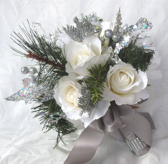 Winter Wedding Flowers Uk: Winter Wedding Bouquet And Boutonniere White Roses Silver