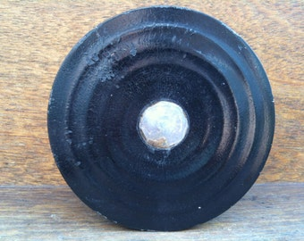 Antique Asian round black wood box cica 1910's / English Shop