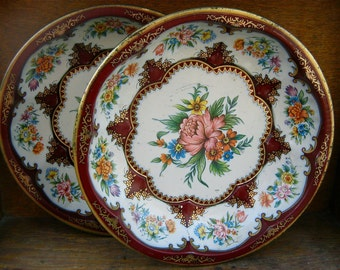 Vintage English tin plates Set of 2 Flower Decor Vintage Tin Deep Plate circa 1960's / English Shop