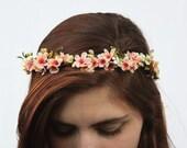 Coral Peach Bridal Flower Crown - Flower Girl Hair Wreath, Wedding Flower Crown, Floral Crown, Bridal Hair Piece, Bridal Crown, B05