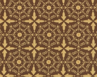 1 yard Posh Pumpkins Acorn Brown Lacey by Sandy Gervais for Moda